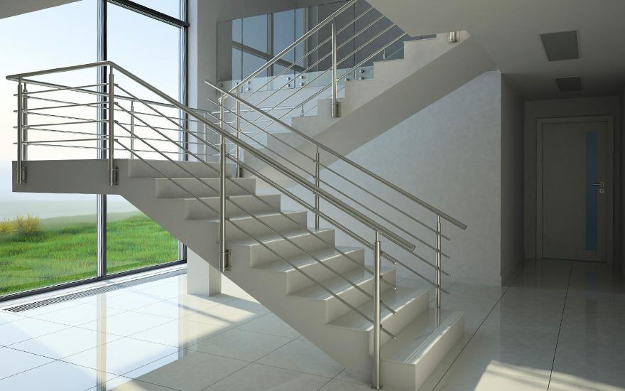 pręty stalowe wbalustradach schodów